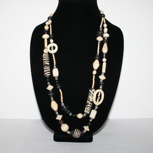 silver cream and black tribal necklace w bone